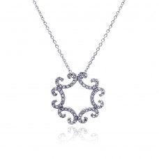 **Closeout** Sterling Silver Clear CZ Rhodium Plated Curve Pattern Pendant Necklace - STP00419
