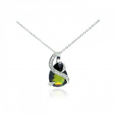 **Closeout** Sterling Silver Clear CZ Rhodium Plated Green Teardrop Pendant Necklace - STP00422