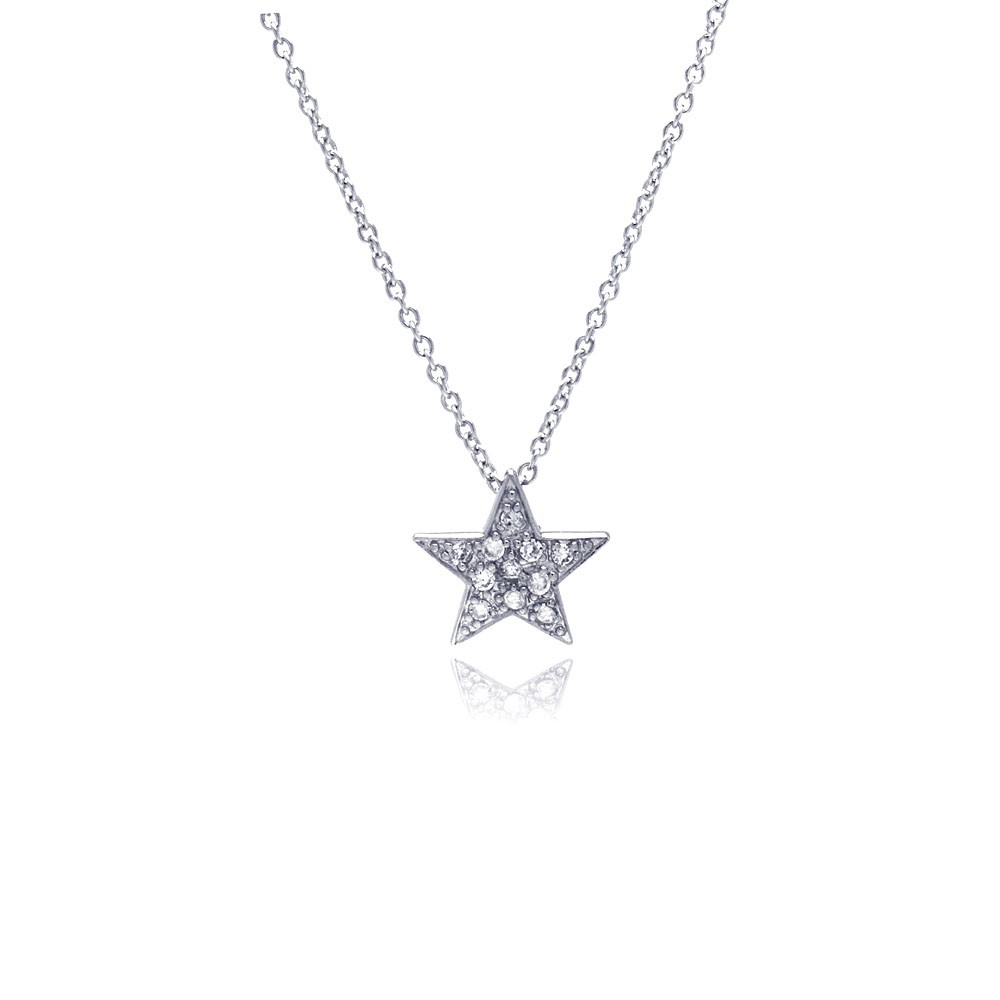 Silver clear cz rhodium plated covered star pendant necklace sterling silver clear cz rhodium plated covered star pendant necklace stp00424 aloadofball Choice Image