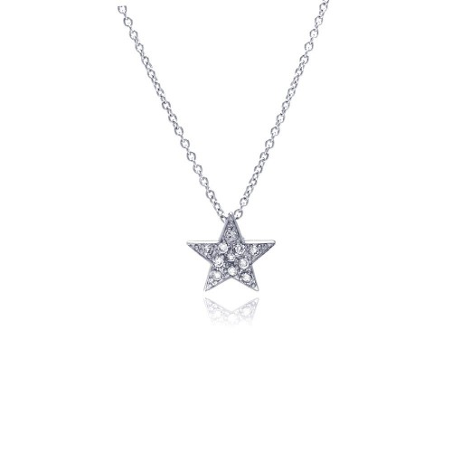 Wholesale Sterling Silver 925 Clear CZ Rhodium Plated Covered Star Pendant Necklace - STP00424