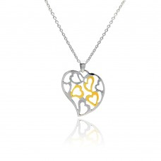 **Closeout** Sterling Silver Clear CZ Gold and Rhodium Plated Multi Hearts Pendant Necklace - STP00430