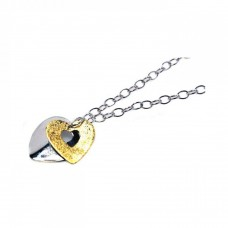 **Closeout** Sterling Silver Rhodium and Gold Plated Heart Pendant Necklace - STP00442