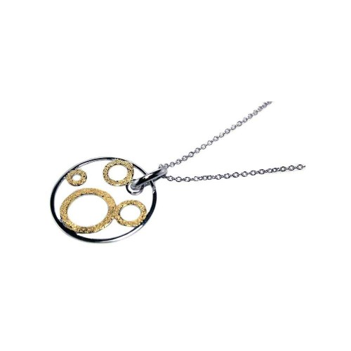 **Closeout** Wholesale Sterling Silver 925 Rhodium and Gold Plated Multi Open Circle Pendant Necklace - STP00445