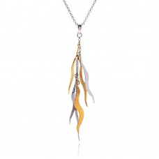 **Closeout** Sterling Silver Rhodium and Gold Plated CZ Dangling Wavy Pendant Necklace - STP00446