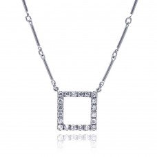 **Closeout** Wholesale Sterling Silver 925 Rhodium Plated CZ Open Square Pendant Necklace - STP00450