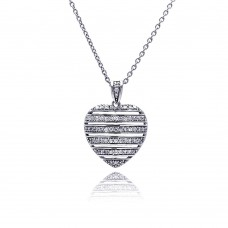 **Closeout** Wholesale Sterling Silver 925 Rhodium Plated CZ Heart Pendant Necklace - STP00454