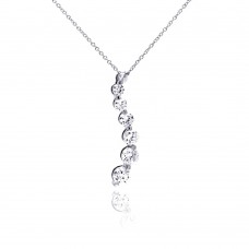 Wholesale Sterling Silver 925 Rhodium Plated CZ Graduated Dangling Pendant Necklace - STP00458