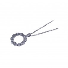 **Closeout** Sterling Silver Rhodium Plated CZ Open Circle Pendant Necklace - STP00460
