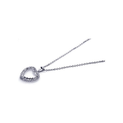 Wholesale Sterling Silver 925 Rhodium Plated CZ Open Heart Pendant Necklace - STP00461