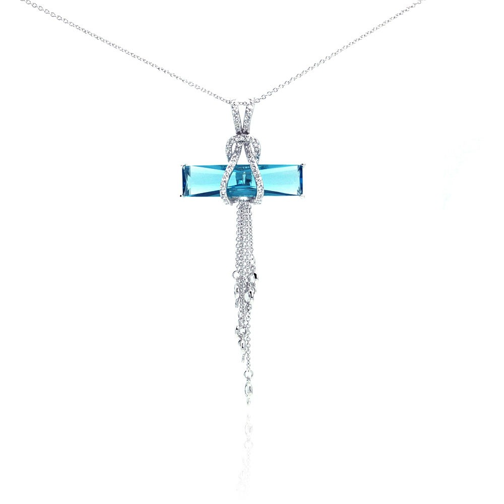 Wholesale Sterling Silver 925 Rhodium Plated Blue CZ Hanging Strand Pendant Necklace - STP00465BL