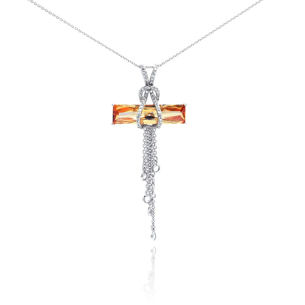 Wholesale Sterling Silver 925 Rhodium Plated Champagne CZ Hanging Strand Pendant Necklace - STP00465CH