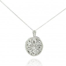 Sterling Silver Rhodium Plated CZ Cross Locket Pendant Necklace - STP00498