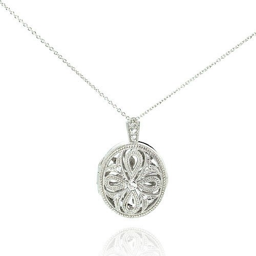 Wholesale Sterling Silver 925 Rhodium Plated CZ Cross Locket Pendant Necklace - STP00498