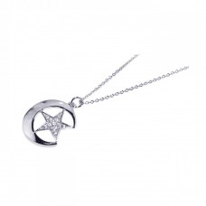Wholesale Sterling Silver 925 Rhodium Plated Pave Set Clear CZ Crescent Moon Star Pendant Necklace - STP00500