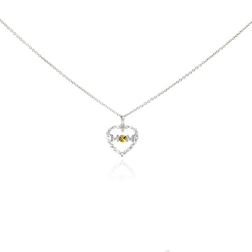 Wholesale Sterling Silver 925 Rhodium Plated Yellow O CZ Heart Mom Pendant Necklace - STP00504