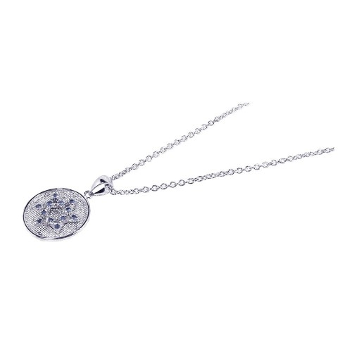 -Closeout- Wholesale Sterling Silver 925 Rhodium Plated CZ Star of David Pendant Necklace - STP00510