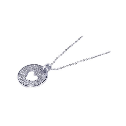 Wholesale Sterling Silver 925 Rhodium Plated Open Heart CZ Inlay Dangling Necklace - STP00521