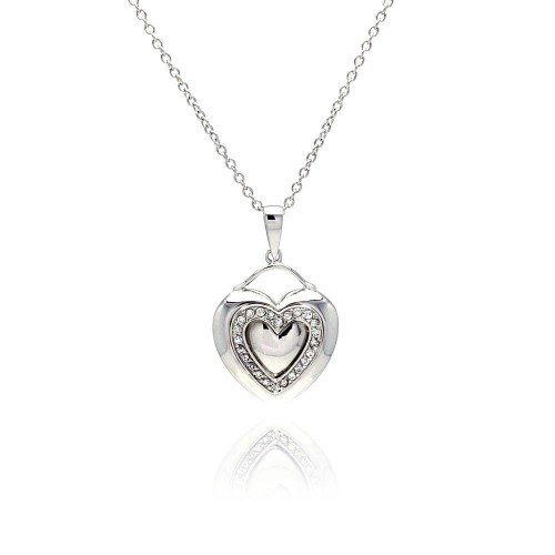 Wholesale Sterling Silver 925 Rhodium Plated Heart Clear CZ Inlay Dangling Necklace - STP00526