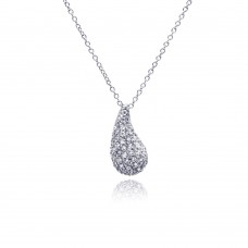**Closeout** Sterling Silver Rhodium Plated Curvy Teardrop Eggplant CZ Necklace - STP00527