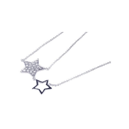 Wholesale Sterling Silver 925 Rhodium Plated Open and Closed Star CZ Inlay Necklace - STP00529