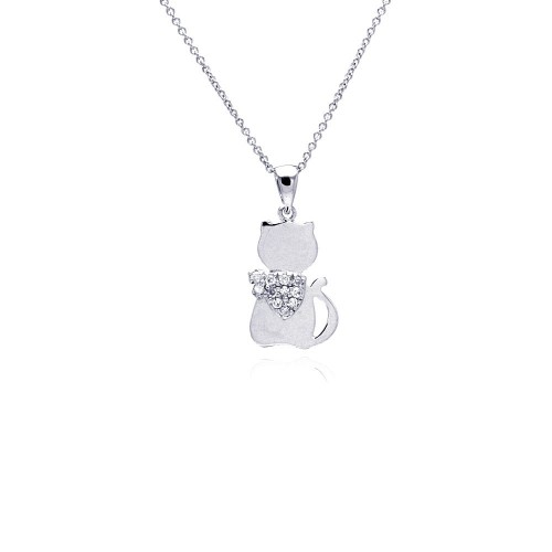 -Closeout- Wholesale Sterling Silver 925 Rhodium Plated Cat Heart Small Clear CZ Dangling Necklace - STP00531