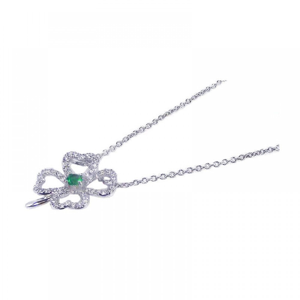 Wholesale Sterling Silver 925 Rhodium Plated Clover Clear CZ Inlay Necklace - STP00532