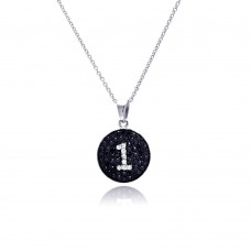 **Closeout** Sterling Silver Black and Silver Rhodium Plated Number One Black and Clear CZ Dangling Necklace - STP00539