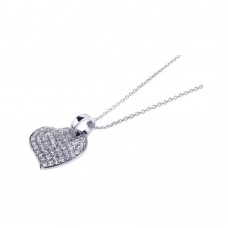 **Closeout** Wholesale Sterling Silver 925 Rhodium Plated Round Heart Clear CZ Inlay Necklace - STP00544