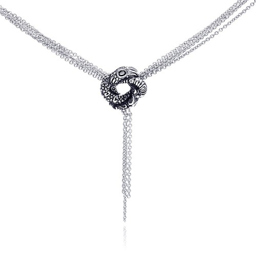 Wholesale Sterling Silver 925 Rhodium Plated Multiple Chain Oxidized Coiled Up Snake Necklace - STP00559MUL