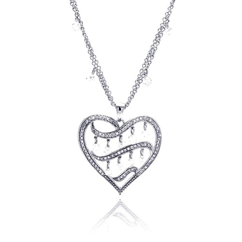 -Closeout- Wholesale Sterling Silver 925 Rhodium Plated Filigree Heart CZ Chandelier Dangling Necklace - STP00591