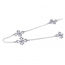 **Closeout** Wholesale Sterling Silver 925 Rhodium Plated Pointy Cross CZ Necklace - STP00598