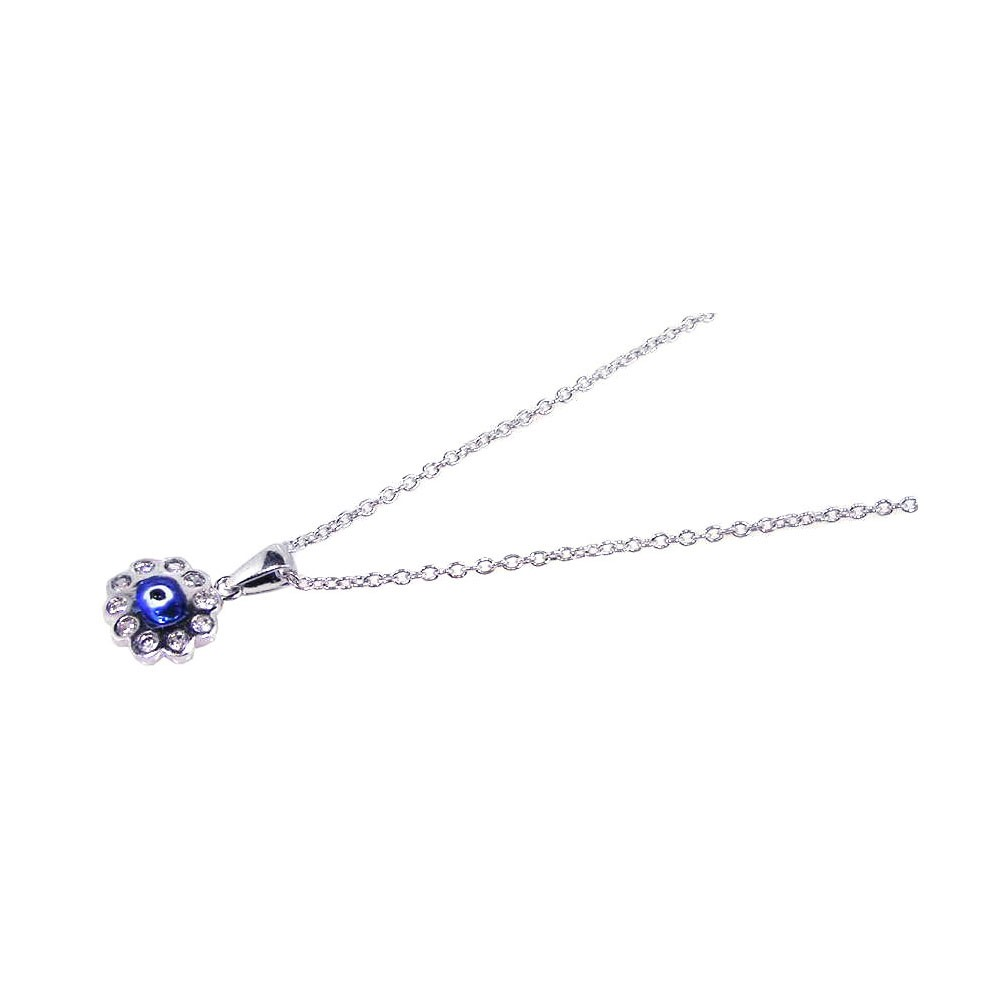 Wholesale Sterling Silver 925 Rhodium Plated Clear CZ Evil Eye - Blue Cluster Pendant Necklace - STP00608