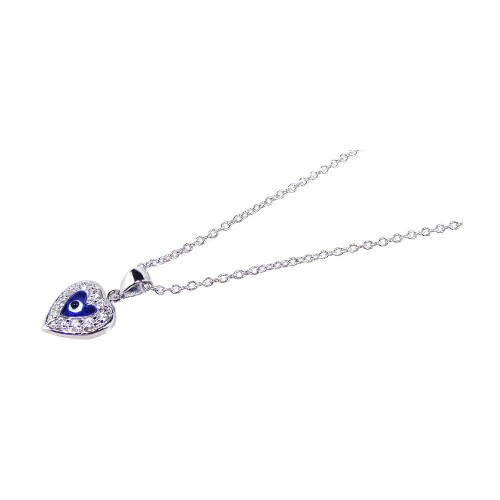 Wholesale Sterling Silver 925 Rhodium Plated Clear CZ and Blue Stones Evil Eye Heart Pendant Necklace - STP00612