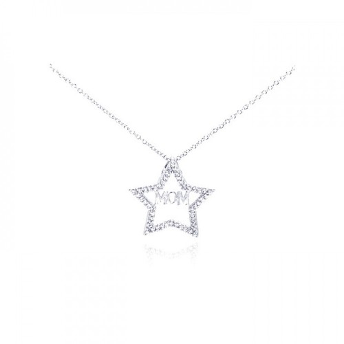 Wholesale Sterling Silver 925 Rhodium Plated Clear CZ Mom Star Pendant Necklace - STP00620