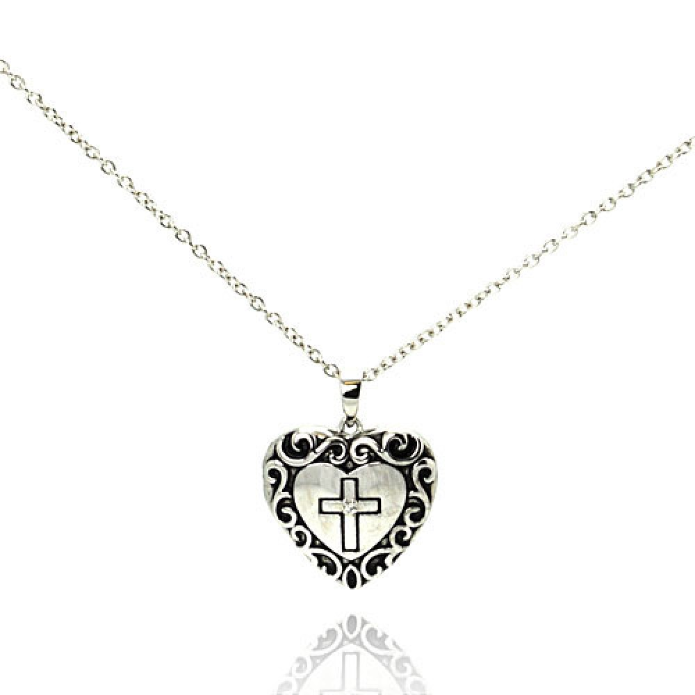 Wholesale Sterling Silver 925 Rhodium Plated Clear CZ Black Onyx Heart Cross Pendant Necklace - STP00622