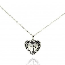 Sterling Silver Rhodium Plated Clear CZ Black Onyx Heart Cross Pendant Necklace - STP00622