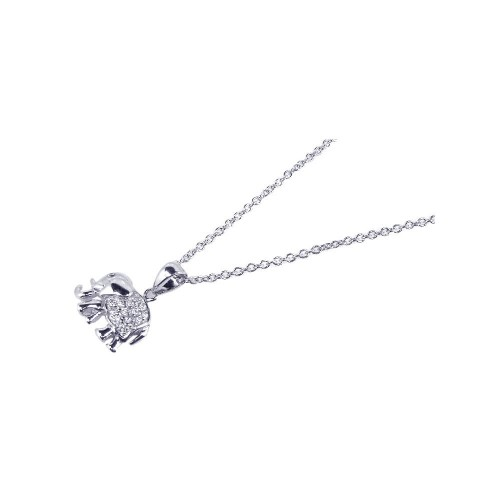 Wholesale Sterling Silver 925 Rhodium Plated Clear CZ Elephant Pendant Necklace - STP00624