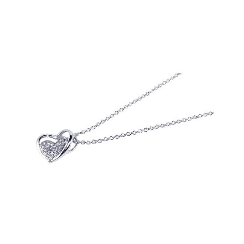 Wholesale Sterling Silver 925 Rhodium Plated Clear CZ Heart Pendant Necklace - STP00630