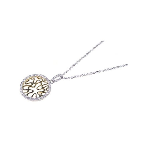**Closeout** Wholesale Sterling Silver 925 Gold and Rhodium Plated Circle Pendant Necklace - STP00637