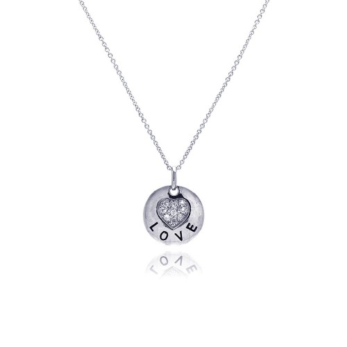 **Closeout** Wholesale Sterling Silver 925 Rhodium Plated Clear CZ Love Round Pendant Necklace - STP00639