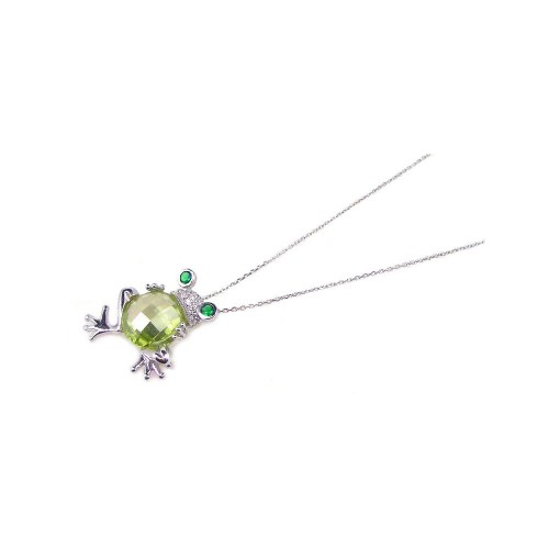 Wholesale Sterling Silver 925 Rhodium Plated Clear CZ Frog Pendant Necklace - STP00643