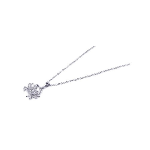 Wholesale Sterling Silver 925 Rhodium Plated Clear CZ Crab Pendant Necklace - STP00645