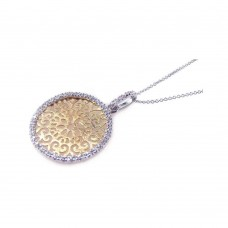 **Closeout** Sterling Silver Gold and Rhodium Plated Clear CZ Round Circle Pendant Necklace - STP00646