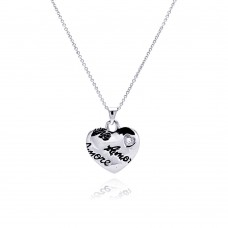 **Closeout** Sterling Silver Rhodium Plated Clear CZ Amore Love Heart Pendant Necklace - STP00648