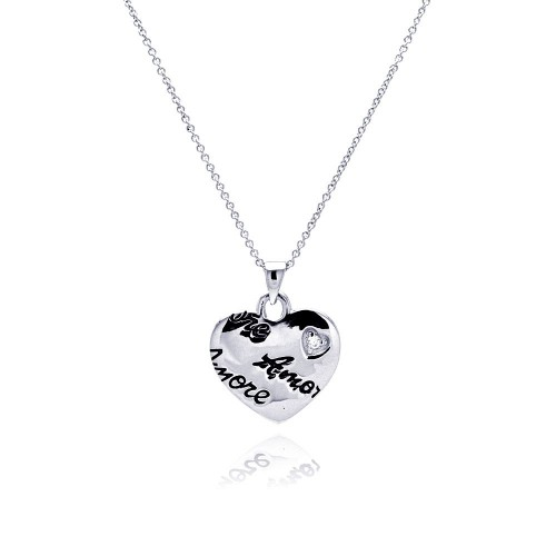 **Closeout** Wholesale Sterling Silver 925 Rhodium Plated Clear CZ Amore Love Heart Pendant Necklace - STP00648