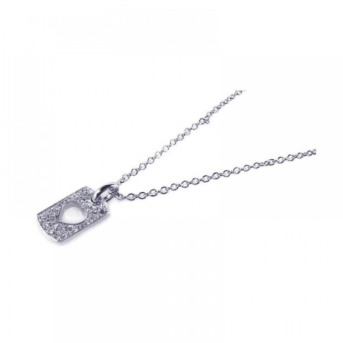 Wholesale Sterling Silver 925 Rhodium Plated Clear CZ Heart Rectangle Dogtag Pendant Necklace - STP00651