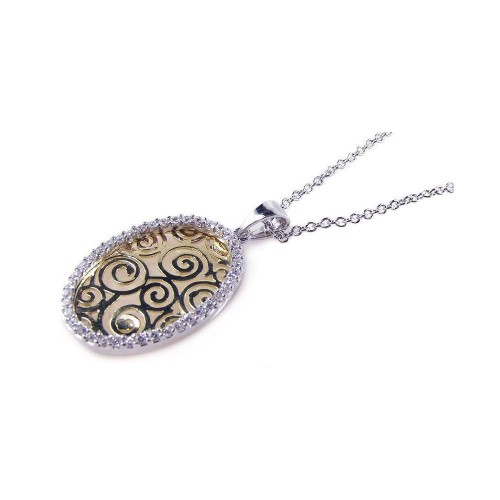 **Closeout** Wholesale Sterling Silver 925 Gold and Rhodium Plated Clear CZ Oval Pendant Necklace - STP00656
