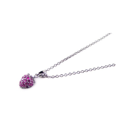 **Closeout** Wholesale Sterling Silver 925 Rhodium Plated Pink CZ Heart Pendant Necklace - STP00663