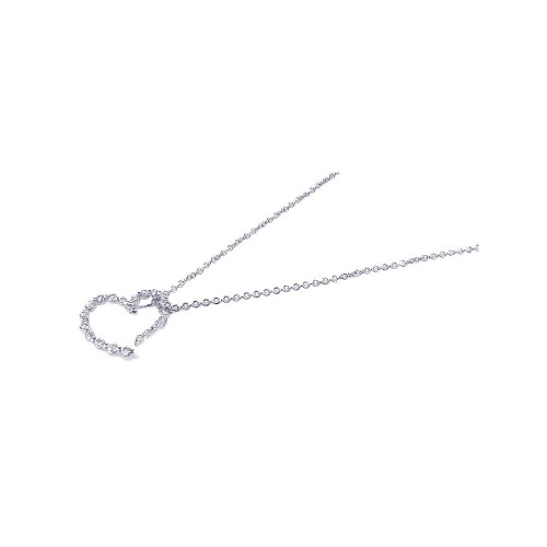 Wholesale Sterling Silver 925 Rhodium Plated Clear CZ Heart Pendant Necklace - STP00665