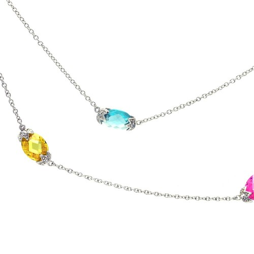**Closeout** Wholesale Sterling Silver 925 Rhodium Plated Colorful Stones CZ Pendant Necklace - STP00675